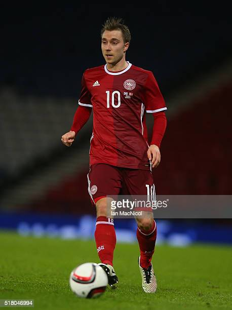 Christian Eriksen of Denma rkcontrols the ball during the International Friendly match between Scotland and Denmark at Hampden Park on March 29 2016...