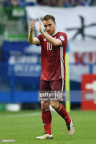 Christian Eriksen of Denmark applauds supporters as he is substituted during the international friendly match between Denmark and Bulgaria at the...