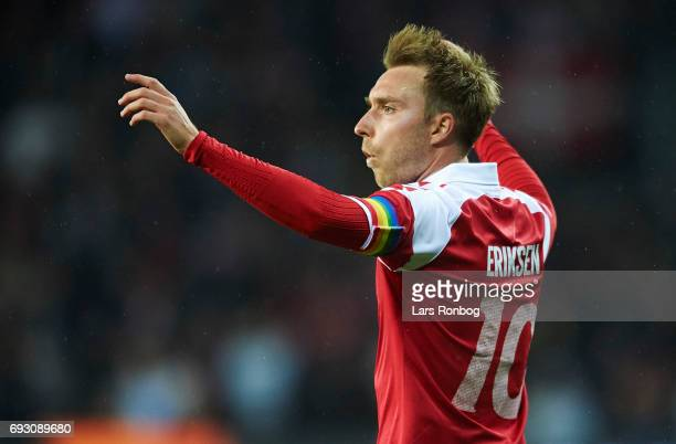 Christian Eriksen of Denmark celebrates after scoring their first goal during the international friendly match between Denmark and Germany at Brondby...