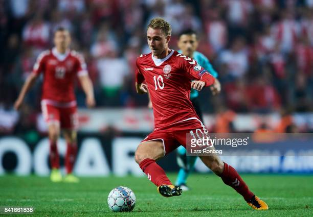 Christian Eriksen of Denmark controls the ball during the FIFA World Cup 2018 qualifier match between Denmark and Poland at Telia Parken Stadium on...