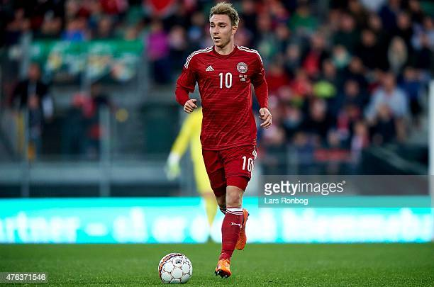 Christian Eriksen of Denmark controls the ball during the International Friendly match between Denmark and Montenegro at Viborg Stadion on June 8...