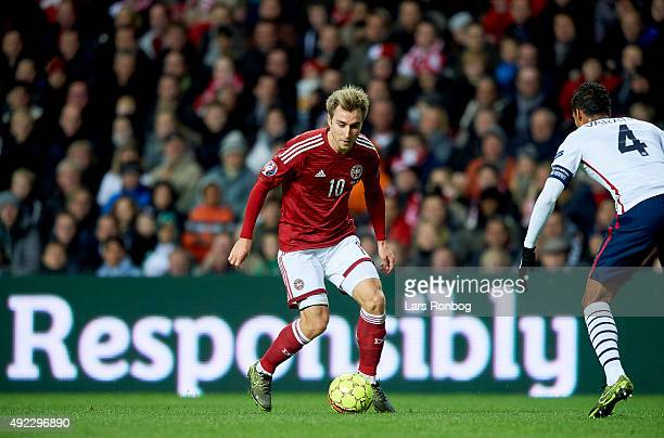 Christian Eriksen of Denmark controls the ball during the International Friendly match between Denmark and France at Telia Parken Stadium on October...