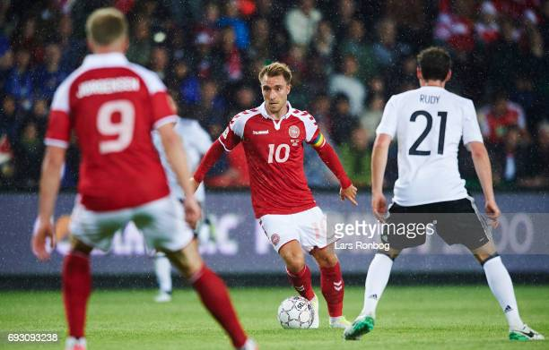 Christian Eriksen of Denmark controls the ball during the international friendly match between Denmark and Germany at Brondby Stadion on June 6 2017...