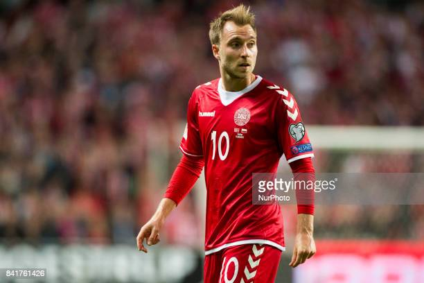 Christian Eriksen of Denmark during the FIFA World Cup 2018 Qualifying Round between Denmark and Poland at Telia Parken Stadium in Copenhagen Denmark...