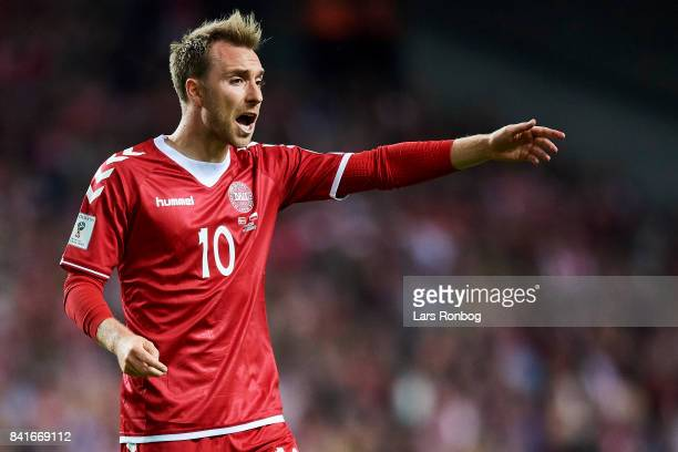 Christian Eriksen of Denmark gestures during the FIFA World Cup 2018 qualifier match between Denmark and Poland at Telia Parken Stadium on September...