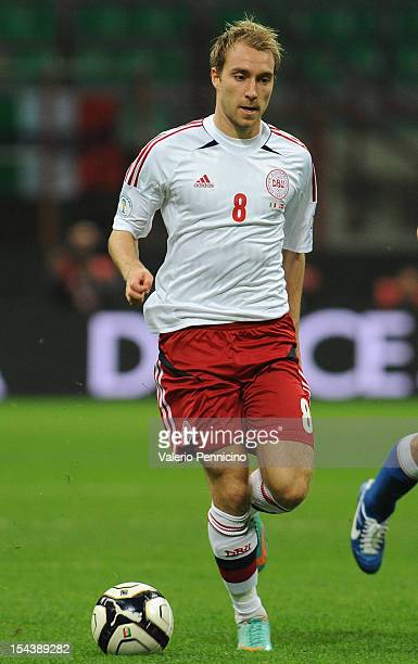 Christian Eriksen of Denmark in action during the FIFA 2014 World Cup qualifier match between Italy and Denmark at Stadio Giuseppe Meazza on October...
