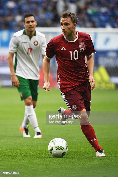 Christian Eriksen of Denmark in action during the international friendly match between Denmark and Bulgaria at the Suita City Football Stadium on...