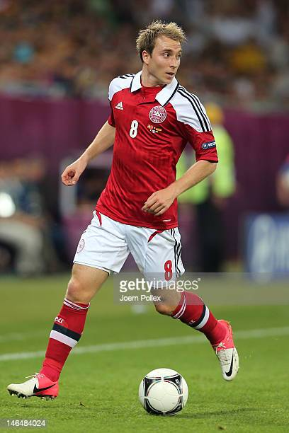 L'VIV UKRAINE JUNE 17 Christian Eriksen of Denmark in action during the UEFA EURO 2012 group B match between Denmark and Germany at Arena Lviv on...