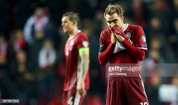 Christian Eriksen of Denmark looks dejected after the UEFA EURO 2016 Qualifier PlayOff Second Leg match between Denmark and Sweden at Telia Parken...