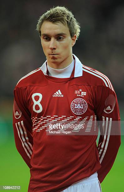 Christian Eriksen of Denmark looks on before the international friendly match between Denmark and England at Parken Stadium on February 9 2011 in...