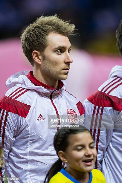 Christian Eriksen of Denmark looks on during the European Qualifier PlayOff between Sweden and Denmark on November 14 2015 in Solna Sweden