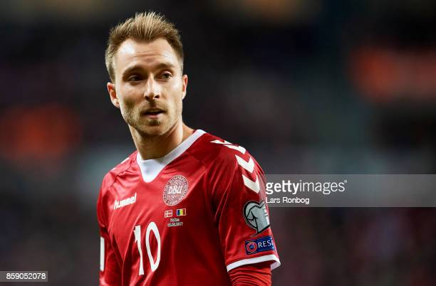 Christian Eriksen of Denmark looks on during the FIFA World Cup 2018 qualifier match between Denmark and Romania at Telia Parken Stadium on October 8...