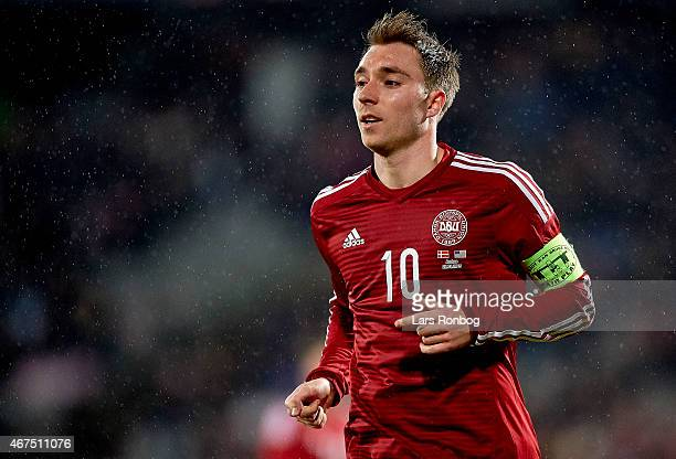 Christian Eriksen of Denmark looks on during the International Friendly match between Denmark and Unites States at NRGi Park on March 25 2015 in...