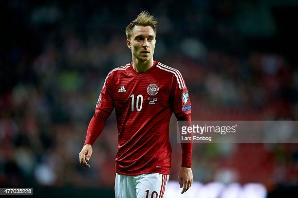 Christian Eriksen of Denmark looks on during the UEFA EURO 2016 Qualifier match between Denmark and Serbia at Telia Parken Stadium on June 13 2015 in...