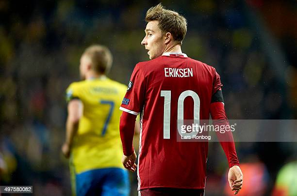 Christian Eriksen of Denmark looks on during the UEFA EURO 2016 Qualifier PlayOff Second Leg match between Denmark and Sweden at Telia Parken Stadium...