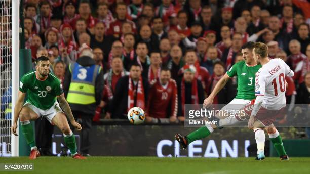Christian Eriksen of Denmark scores his sides third goal during the FIFA 2018 World Cup Qualifier PlayOff Second Leg between Republic of Ireland and...