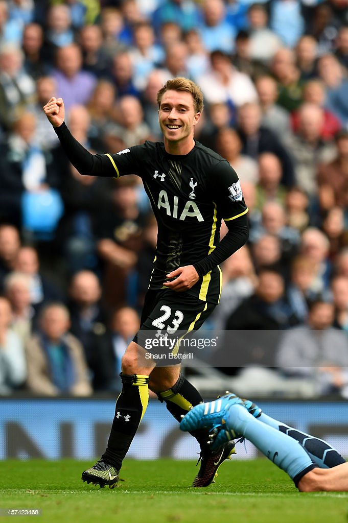 <a gi-track='captionPersonalityLinkClicked' href=/galleries/search?phrase=Christian+Eriksen&family=editorial&specificpeople=6757192 ng-click='$event.stopPropagation()'>Christian Eriksen</a> of Spurs celebrates after scoring a goal to level the scores at 1-1 during the Barclays Premier League match between Manchester City and Tottenham Hotspur at Etihad Stadium on October 18, 2014 in Manchester, England.
