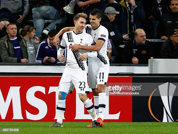Christian Eriksen of Spurs is congratulated by Erik Lamela of Spurs after scoring the opening goal during the UEFA Europa League Group J match...