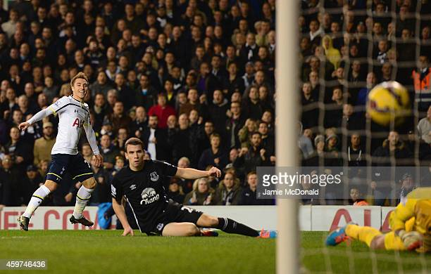 Christian Eriksen of Spurs scores their first goal during the Barclays Premier League match between Tottenham Hotspur and Everton at White Hart Lane...
