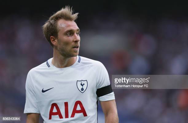 Christian Eriksen of Tottenham during the Premier League match between Tottenham Hotspur and Chelsea at Wembley Stadium on August 20 2017 in London...