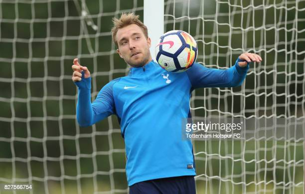 Christian Eriksen of Tottenham during the Tottenham Hotspur training session at Tottenham Hotspur Training Centre on August 8 2017 in Enfield England