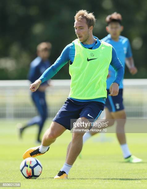 Christian Eriksen of Tottenham during the Tottenham Hotspur training session at Tottenham Hotspur Training Centre on August 17 2017 in Enfield England