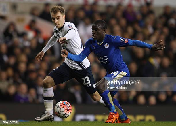 Christian Eriksen of Tottenham Hotspur and N'Golo Kante of Leicester City in action during the Emirates FA Cup Third Round match between Tottenham...