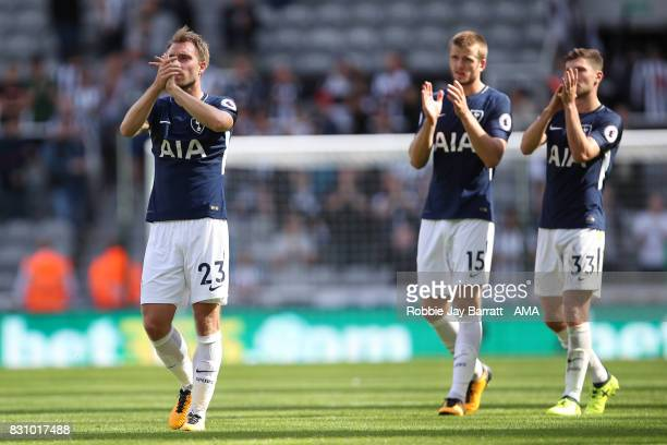 Christian Eriksen of Tottenham Hotspur applauds the fans at full time during the Premier League match between Newcastle United and Tottenham Hotspur...