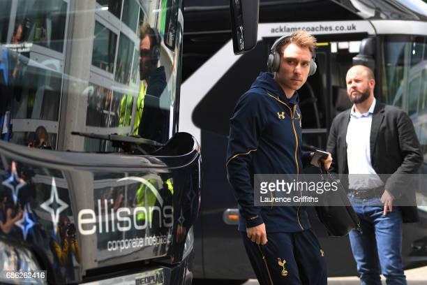 Christian Eriksen of Tottenham Hotspur arrives at the stadium prior to the Premier League match between Hull City and Tottenham Hotspur at the KC...