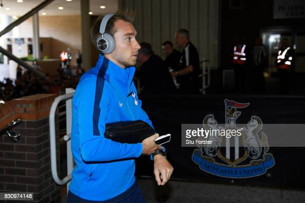 Christian Eriksen of Tottenham Hotspur arrives at the stadium prior to the Premier League match between Newcastle United and Tottenham Hotspur at St...