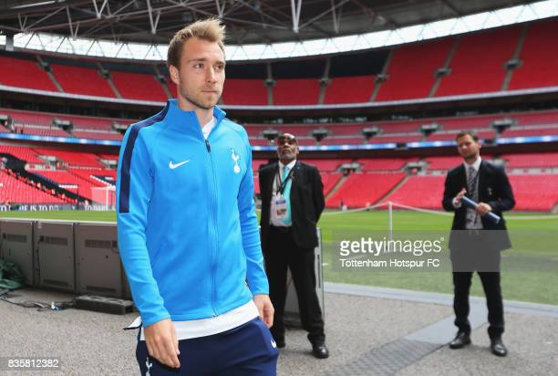 Christian Eriksen of Tottenham Hotspur arrives at the stadium prior to the Premier League match between Tottenham Hotspur and Chelsea at Wembley...