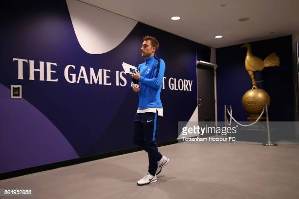 Christian Eriksen of Tottenham Hotspur arrives at the stadium prior to the Premier League match between Tottenham Hotspur and Liverpool at Wembley...