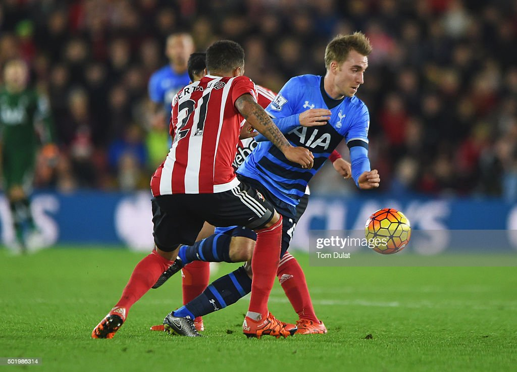 Christian Eriksen of Tottenham Hotspur attempts to beat Ryan Bertrand of Southampton during the Barclays Premier League match between Southampton and Tottenham Hotspur at St Mary's Stadium on December 19, 2015 in Southampton, England.