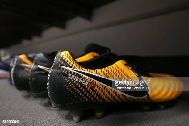 Christian Eriksen of Tottenham Hotspur boots are seen in the changing room prior to the Premier League match between Tottenham Hotspur and Liverpool...