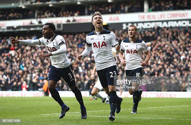 Christian Eriksen of Tottenham Hotspur celebrates his sides second goal after his shot was defelcted in by Gareth McAuley of West Bromwich Albion...