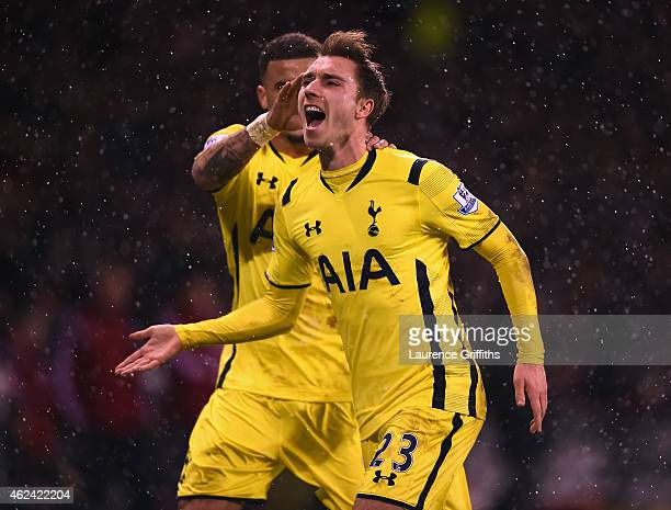Christian Eriksen of Tottenham Hotspur celebrates scoring from a free kick during the Capital One Cup SemiFinal Second Leg match between Sheffield...