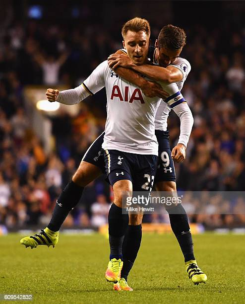 Christian Eriksen of Tottenham Hotspur celebrates scoring his sides first goal with Vincent Janssen of Tottenham Hotspur during the EFL Cup Third...