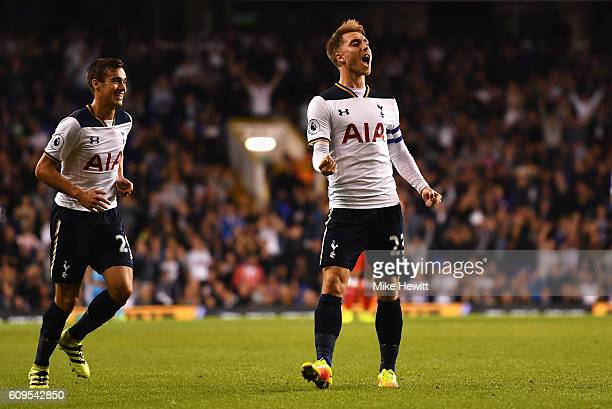Christian Eriksen of Tottenham Hotspur celebrates scoring his sides first goal during the EFL Cup Third Round match between Tottenham Hotspur and...