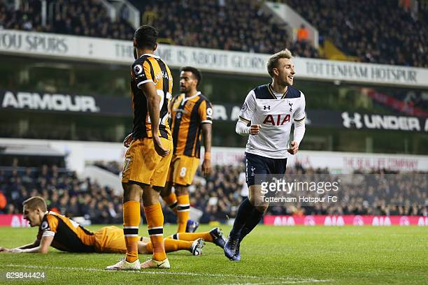 Christian Eriksen of Tottenham Hotspur celebrates scoring his sides first goal during the Premier League match between Tottenham Hotspur and Hull...