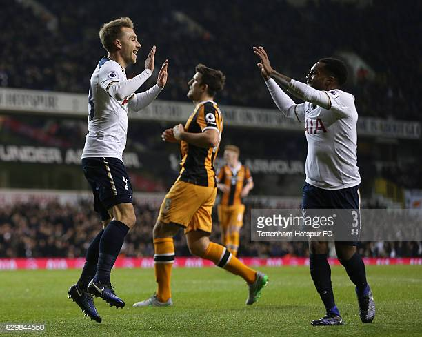 Christian Eriksen of Tottenham Hotspur celebrates scoring his sides first goal with Danny Rose of Tottenham Hotspur during the Premier League match...