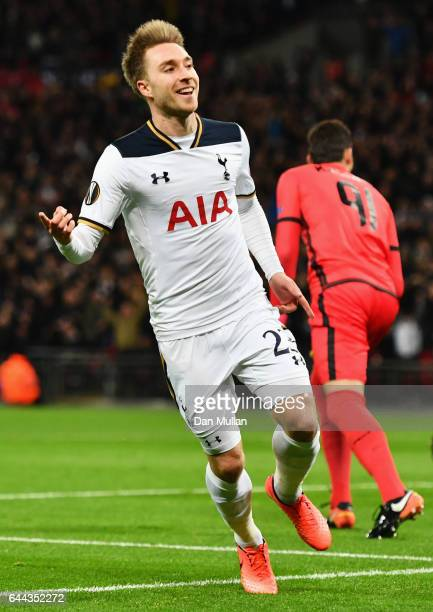 Christian Eriksen of Tottenham Hotspur celebrates scoring his sides first goal during the UEFA Europa League Round of 32 second leg match between...