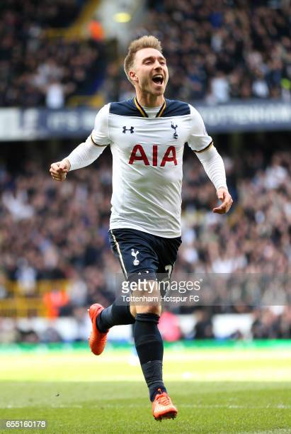Christian Eriksen of Tottenham Hotspur celebrates scoring his sides first goal during the Premier League match between Tottenham Hotspur and...
