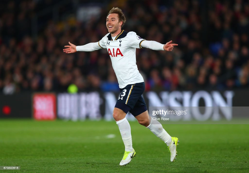 Christian Eriksen of Tottenham Hotspur celebrates scoring his sides first goal during the Premier League match between Crystal Palace and Tottenham Hotspur at Selhurst Park on April 26, 2017 in London, England.