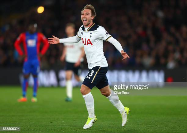 Christian Eriksen of Tottenham Hotspur celebrates scoring his sides first goal during the Premier League match between Crystal Palace and Tottenham...