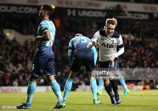Christian Eriksen of Tottenham Hotspur celebrates scoring his team's fifth goal during the Premier League match between Tottenham Hotspur and Swansea...