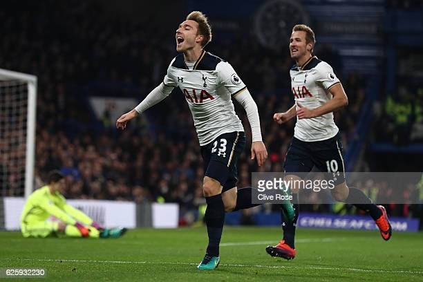 Christian Eriksen of Tottenham Hotspur celebrates scoring the opening goal during the Premier League match between Chelsea and Tottenham Hotspur at...