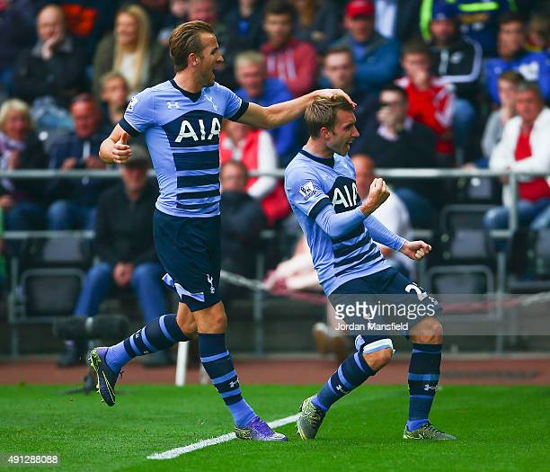 Christian Eriksen of Tottenham Hotspur celebrates scoring Tottenham's second goal with Harry Kane of Tottenham Hotspur during the Barclays Premier...