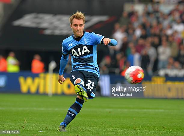 Christian Eriksen of Tottenham Hotspur during the Barclays Premier League match between Swansea City and Tottenham Hotpsur at the Liberty Stadium on...