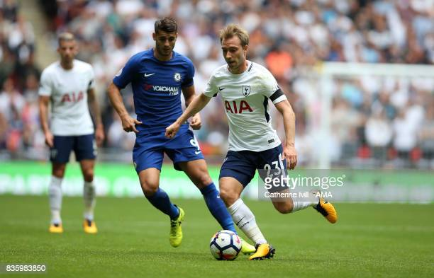 Christian Eriksen of Tottenham Hotspur during the Premier League match between Tottenham Hotspur and Chelsea at Wembley Stadium on August 20 2017 in...