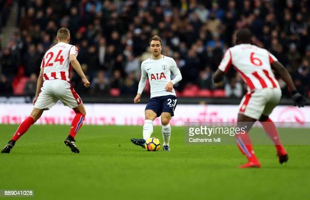 Christian Eriksen of Tottenham Hotspur during the Premier League match between Tottenham Hotspur and Stoke City at Wembley Stadium on December 9 2017...